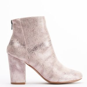 Full size small Irredescent Snakeskin Ankle Bootie